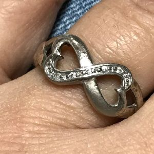 Sterling 925 Genuine Diamond Love Knot Band Ring